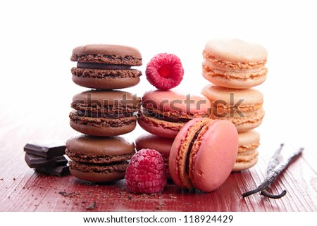 chocolate, raspberry and vanilla macaroons