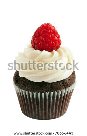 Chocolate raspberry cupcake - stock photo