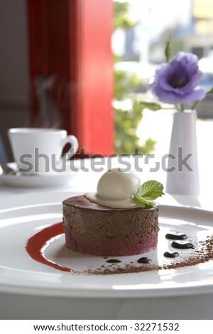 Chocolate Raspberry Mousse Dessert - stock photo