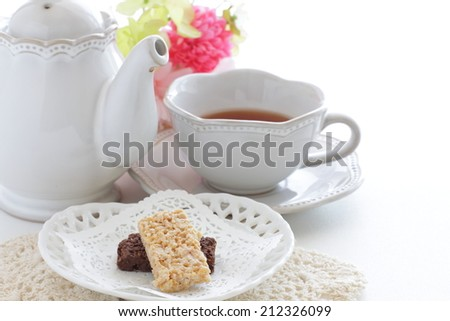 Chocolate rice cookies and English tea