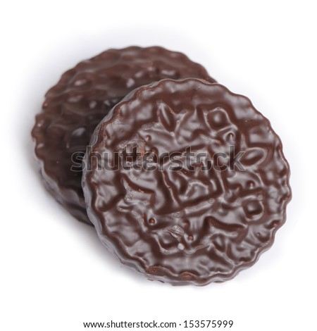 Chocolate round cookie isolated on white background