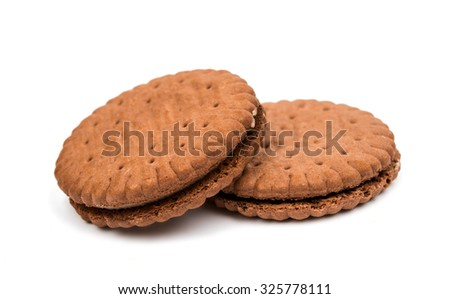 chocolate sandwich crackers on a white background - stock photo