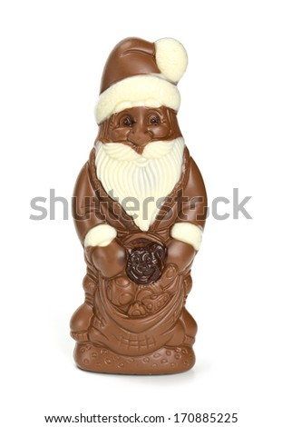 chocolate santa isolated on white - stock photo