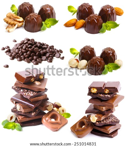 Chocolate set on white background - stock photo