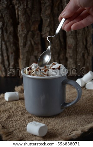 Chocolate shake with dripping sauce and marshmallows