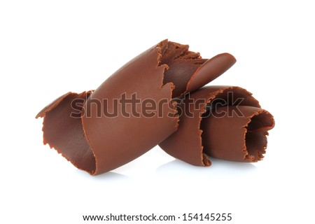 Chocolate shavings on white background - stock photo