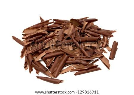 Chocolate Shavings Pile on White Background - stock photo