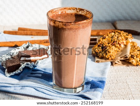 chocolate smoothie with banana and oatmeal with milk - stock photo