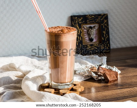 chocolate smoothie with banana and peanut butter, healthy food - stock photo