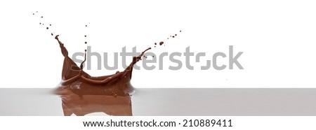 chocolate splash closeup isolated on white background - stock photo