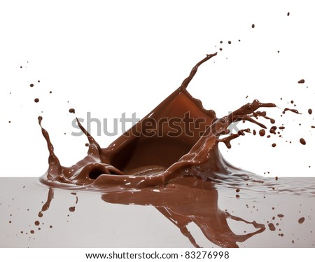 chocolate splash closeup isolated on white background - stock photo