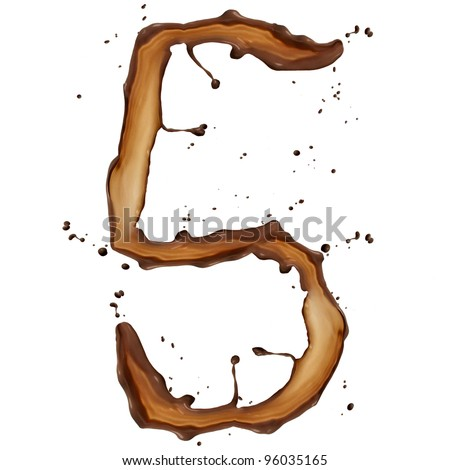 Chocolate splash digit 5 isolated on white background