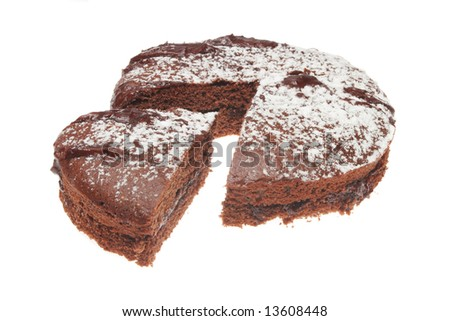 Chocolate sponge cake with slice cut out