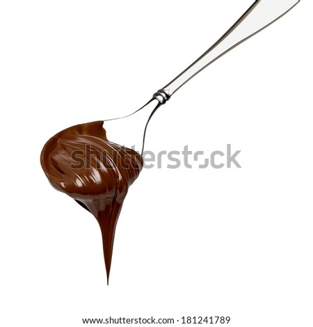 Chocolate spread in spoon on white background - stock photo