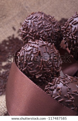 chocolate sprincle cakepops party food sweet dessert - stock photo