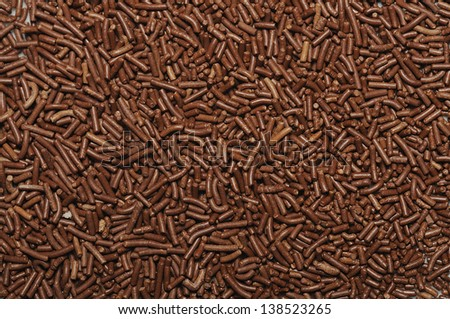 Chocolate sprinkles background for food concept background