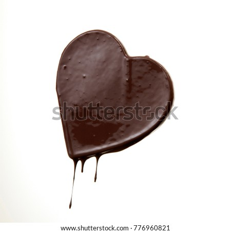 chocolate stain in the form of heart with falling drop isolated on white background
