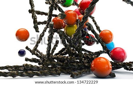 chocolate sticks and gumballs isolated on white background - stock photo
