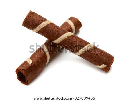 Chocolate sticks on white background - stock photo