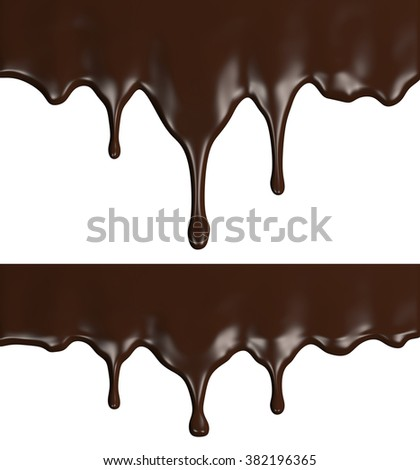 Chocolate streams set, isolated on white