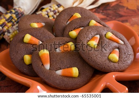 Chocolate sugar cookies topped with candy corn.