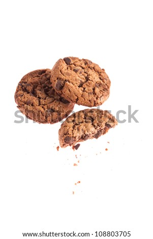 Chocolate sweet cookies isolated on a white background - stock photo