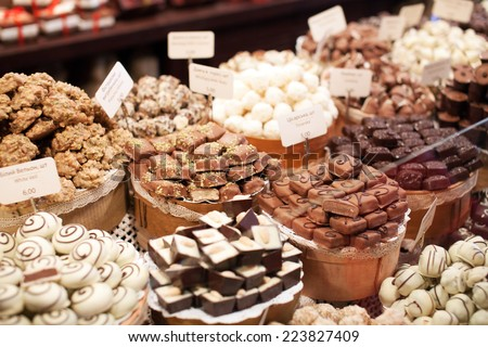 chocolate sweets in the shop - stock photo