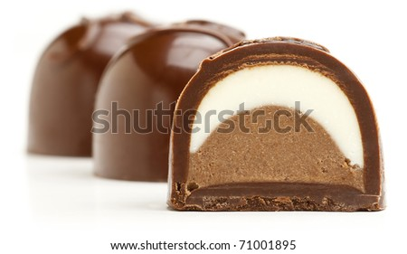 Chocolate sweets isolated on a white background. - stock photo