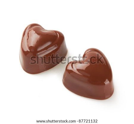 Chocolate sweets on white - stock photo