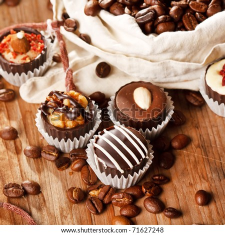 chocolate sweets with coffee beans - stock photo