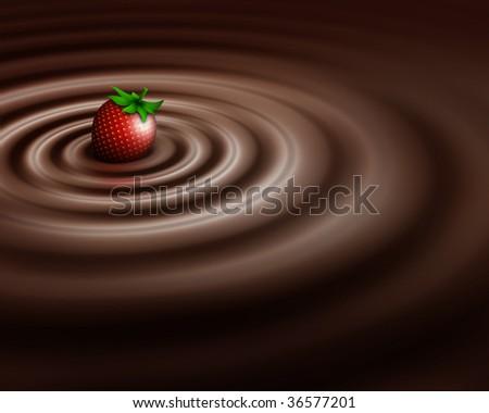 Chocolate swirl whit strawberry - stock photo