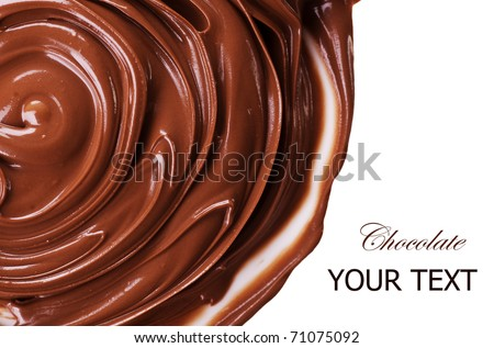 Chocolate swirls over white - stock photo