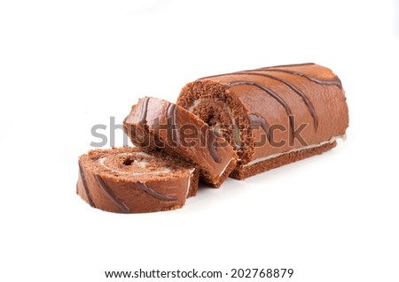 chocolate Swiss roll cake isolated on white background - stock photo
