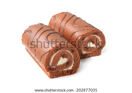 chocolate Swiss roll cake isolated on white background