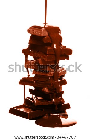 Chocolate syrup being poured over cake on white background