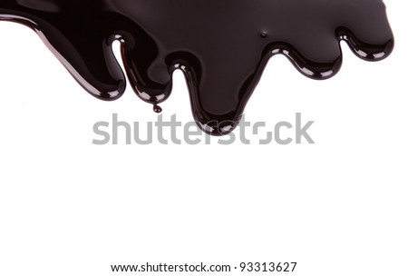 Chocolate syrup drip pattern isolated on a white background - stock photo