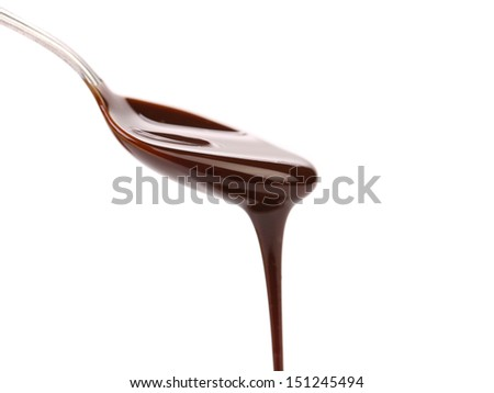 chocolate syrup leaking from spoon