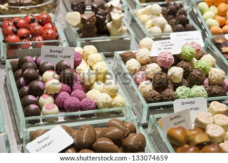 Chocolate truffes selling in market