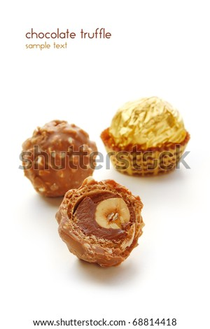 Chocolate truffle with nuts inside - stock photo