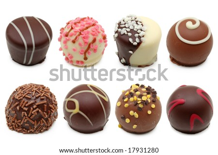 chocolate truffles assortment 2 - stock photo