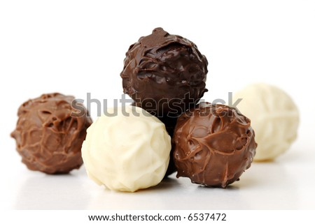 chocolate truffles on white