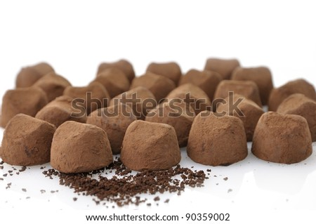 Chocolate Truffles On White Background , Close Up - stock photo