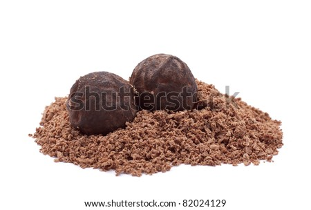 Chocolate truffles with chocolate powder isolated on white - stock photo