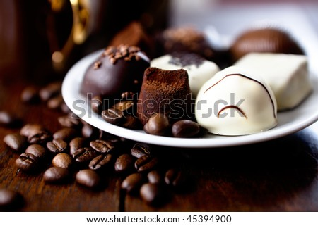 Chocolate truffles with coffee beans