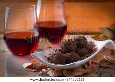 Chocolate Truffles with Red Wine - stock photo