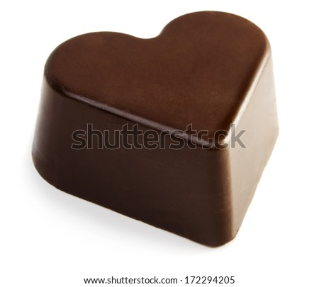 Chocolate valentine heart isolated on white background - stock photo