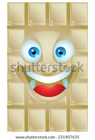 Chocolate vanilla cartoon character laughing isolated - stock photo