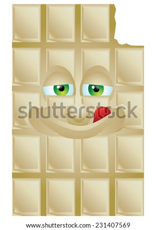 Chocolate vanilla cartoon character smiling isolated - stock photo