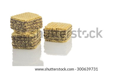 Chocolate wafer cubes with isolated white background - stock photo