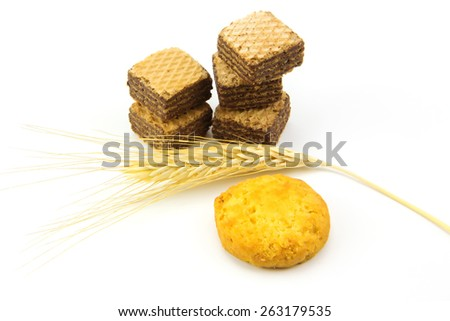 Chocolate wafers and bale isolated on white background - stock photo
